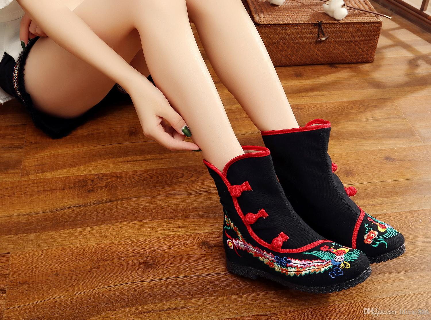2017 New National Style All Match Half Boots female embroidery height increasing round toes cloth shoes Unique Party High quality