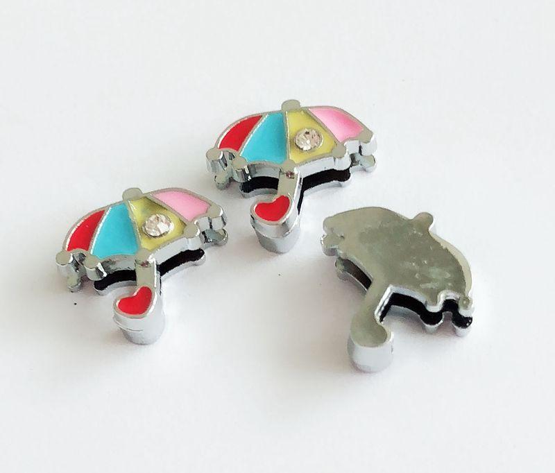 10 Unids 8 MM Un Rhinestone Esmalte Paraguas Encantos de la Diapositiva DIY Accesorio Fit 8mm Cinturones de Muñeca Para Mascotas Collares de Perro Tiras de Teléfono