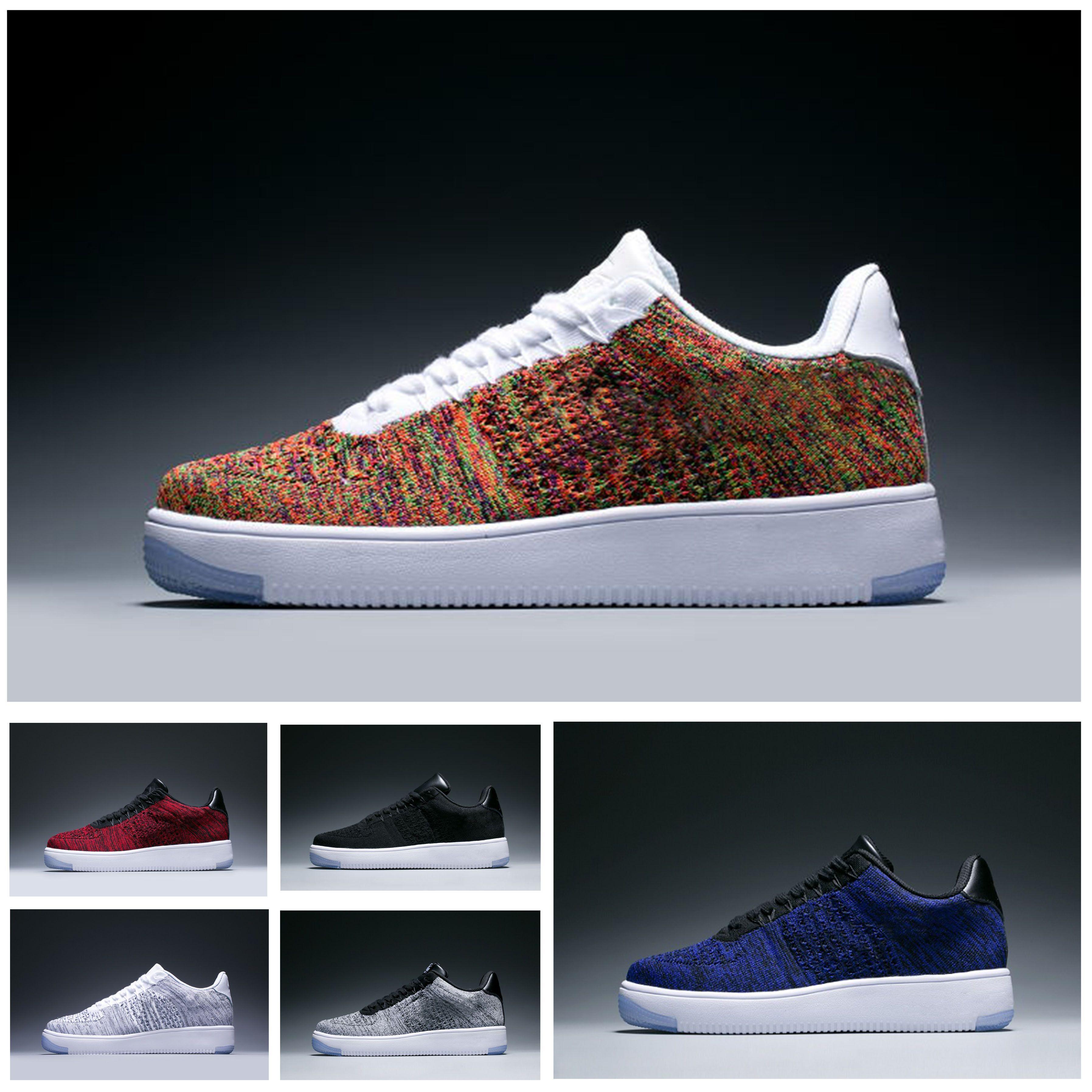 03f80bef8 Compre Nike Air Force 1 Flyknit AF1 Designer Shoes Just Do I Atacado 1 High  Special Campo Preto Trigo Branco Sapatos De Homens Das Mulheres Dos Homens  ...