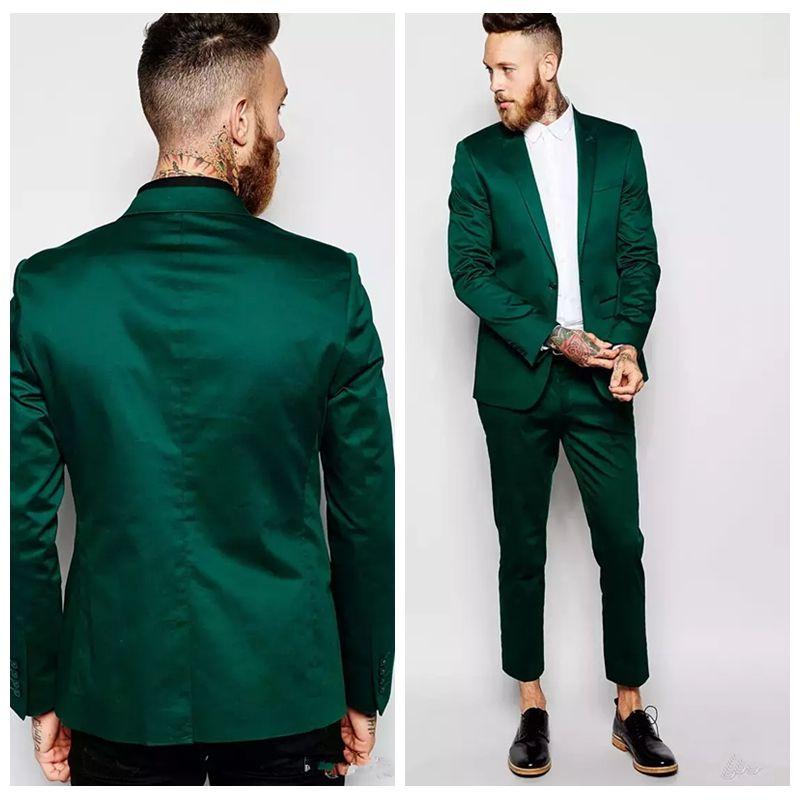 Acheter 2018 Beaux Smokings Hommes Veste Verte Foncee Veste Costume