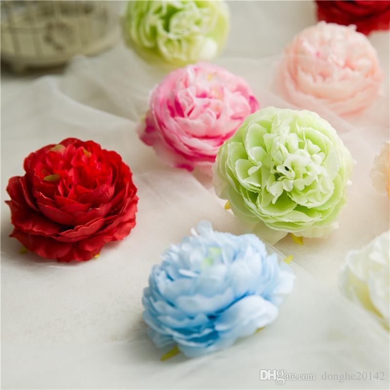 50 STÜCKE Künstliche Blumen Köpfe Hortensien Pfingstrose Blume Köpfe Silk Künstliche Blumen Wand Für Hochzeit Dekoration Hintergrund Wand