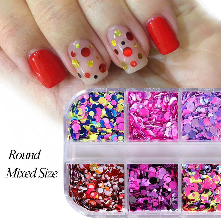 Art Nail Glitter Full Beauty 1 Case Laser Dazzling Round Flakes ...