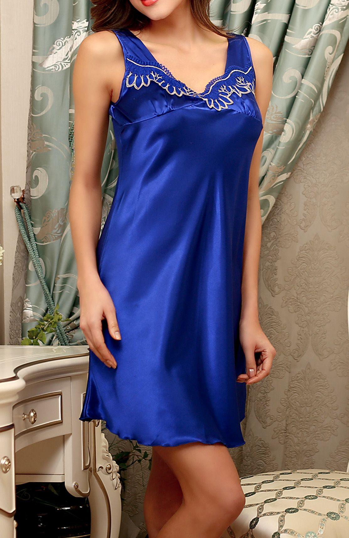 9e505f1e6a6 2019 Sexy Women Nightgowns Lace Sleeveless Girls Embroidery Tunic  Nightdress Nightwear Short Simulation Silk Satin Underwear Lingerie Plus  Size From ...