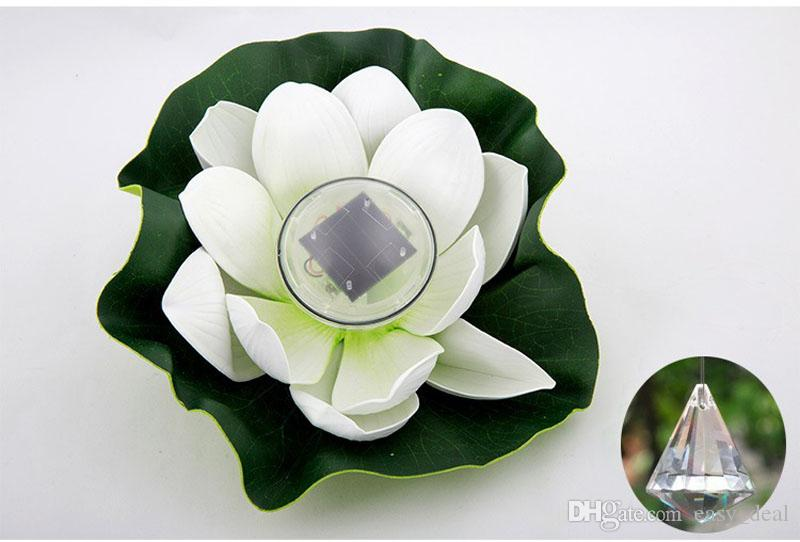 LED Lotus Solar / Lirio de Agua Linterna Impermeable Flotador LED Yarda Flotante Estanque Piscina de Deseos Luz de Noche ZA5596