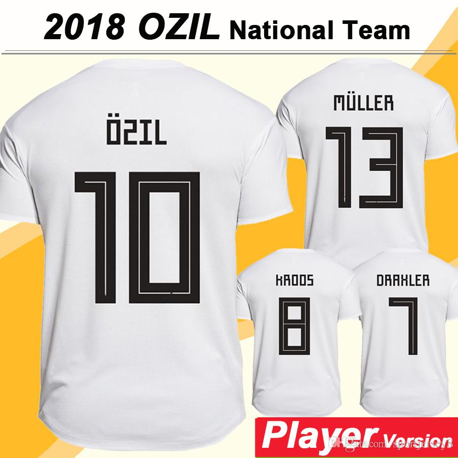 2018 OZIL Player Version Soccer Jerseys Copa del Mundo KROOS MULLER Home White Jersey Equipo Nacional de Fútbol DRAXLER Short Mens Shirts Uniforms