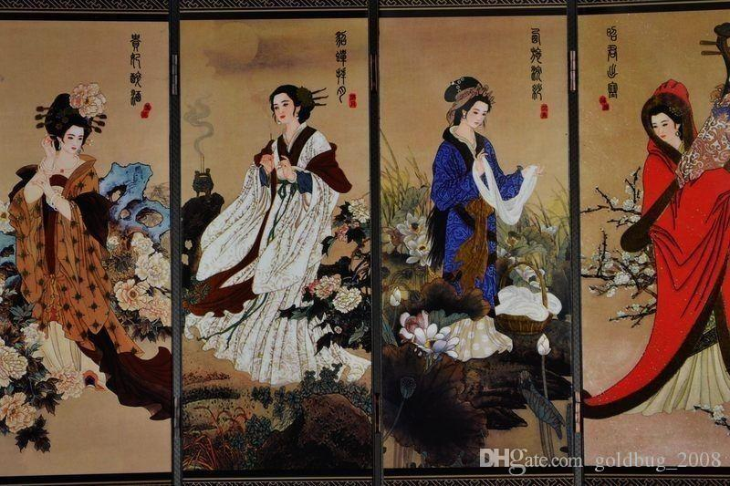 Collectibles Traditional Chinese lacquer painting four noble beauty of the screen
