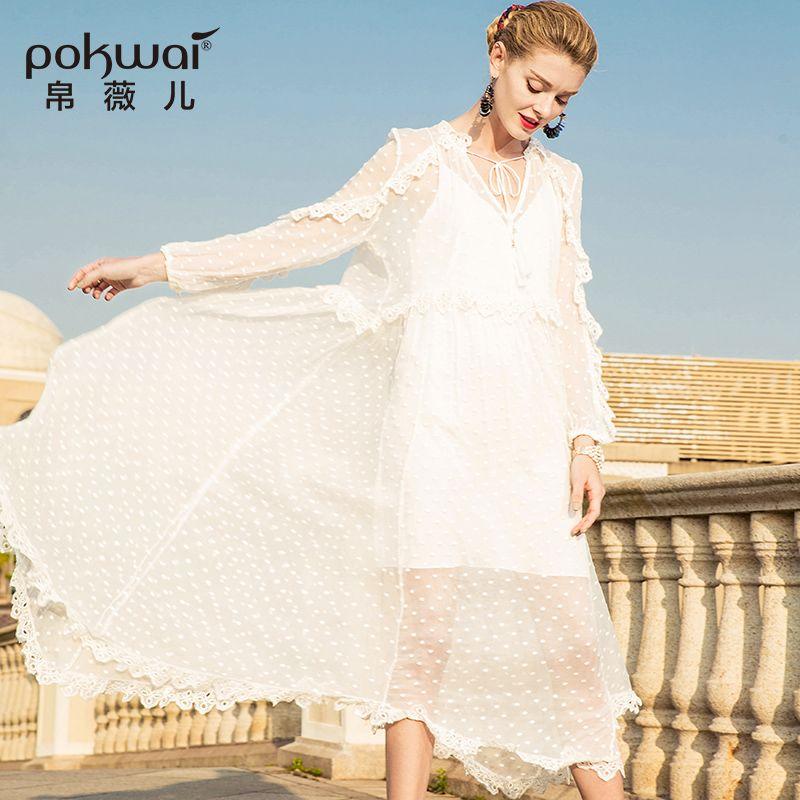 Pokwai Long Dress 2019 POKWAI Long Casual Women Silk Mesh Dress 2018 New Fashion High Quality  Sexy V Neck Full Sleeve Patchwork Ruffles Loose Dresses From Yujian18, ...