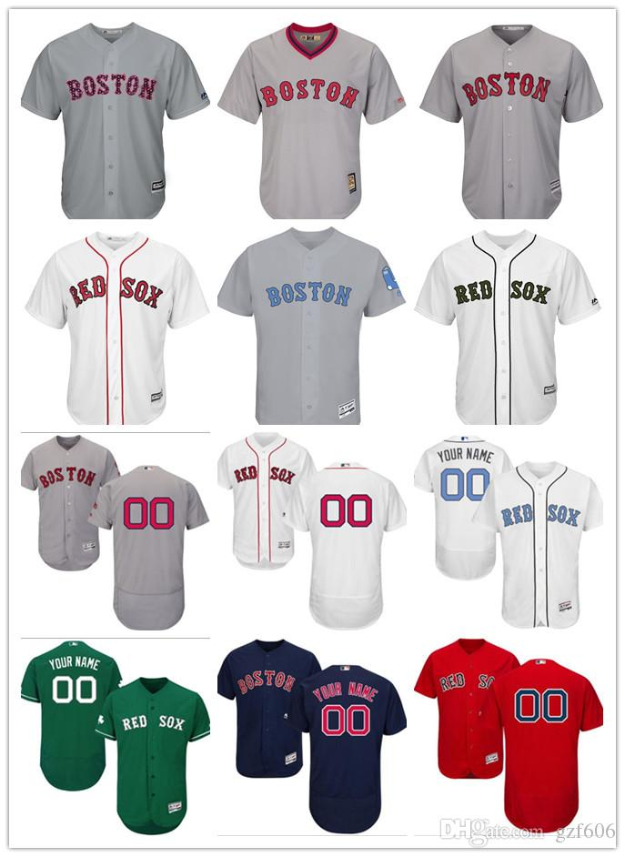 best sneakers 6ca21 30532 custom Men's women youth Majestic Boston Red Sox Jersey Personalized Name  and Number Red Grey White Kids Girls Baseball Jerseys