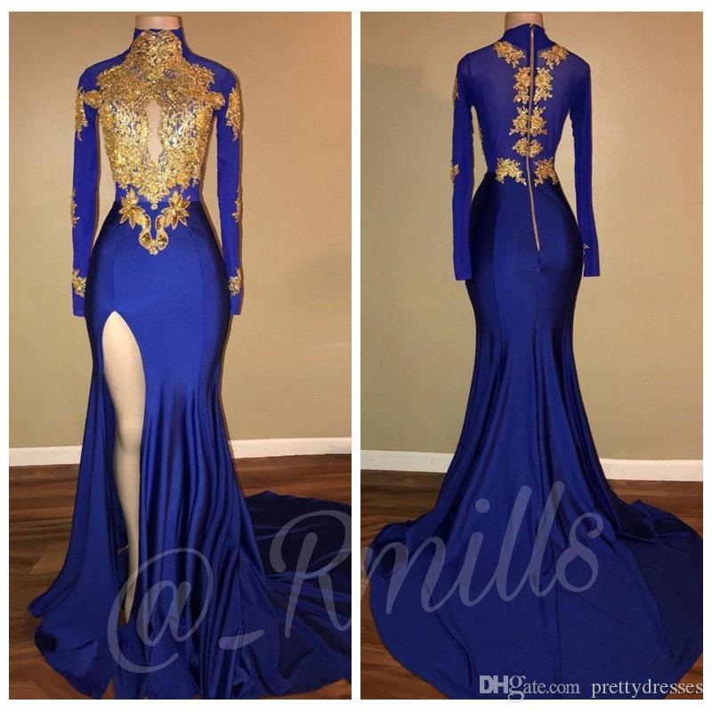 2018 col haut avec des robes de soirée appliques de dentelle d'or sirène Vintage manches longues sexy cuisse haute Split Black Girls robes de soirée de bal