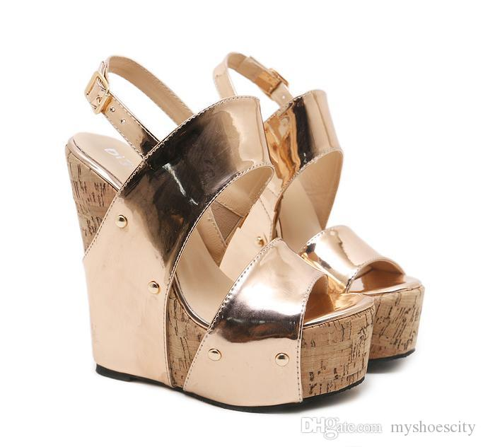 4fb67398aae 16cm Gold Platform Wedges Sandals Super High Heels With Buckle Designer  Shoes 2018 Size 35 To 40 White Wedges Cheap Shoes For Women From  Myshoescity