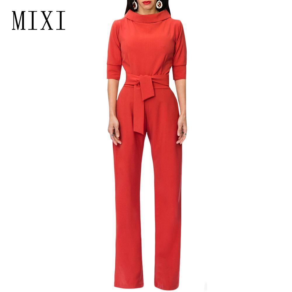 bf1919f96a8 MIXI Ladies Elegant Jumpsuit Half Sleeve Wide Leg Pants Long Rompers ...