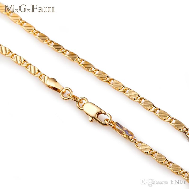 MGFam 216N Long Slim Chain Necklaces 16/18/20/22/24/26/28/30 inch 18k Gold Plated Unisex Global Sale Jewelry Fashion Lead and Nickel Free