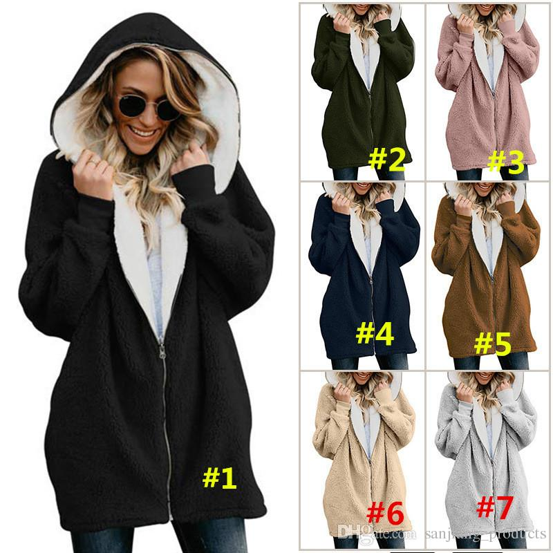 Plus Size Women Sherpa Coat Winter Fleece Jacket Full Zipper Outwear Hoodie Hooded Casual Coats Fuzzy Fur Wool Coat Sweatshirt Brand Design