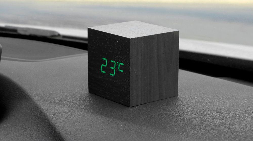 Car Ornaments Orologio Orologio Termometro Data 3 In 1 Cruscotto Decorazione Legno sveglia Orologio Automobile Decorazioni d'interni Accessori