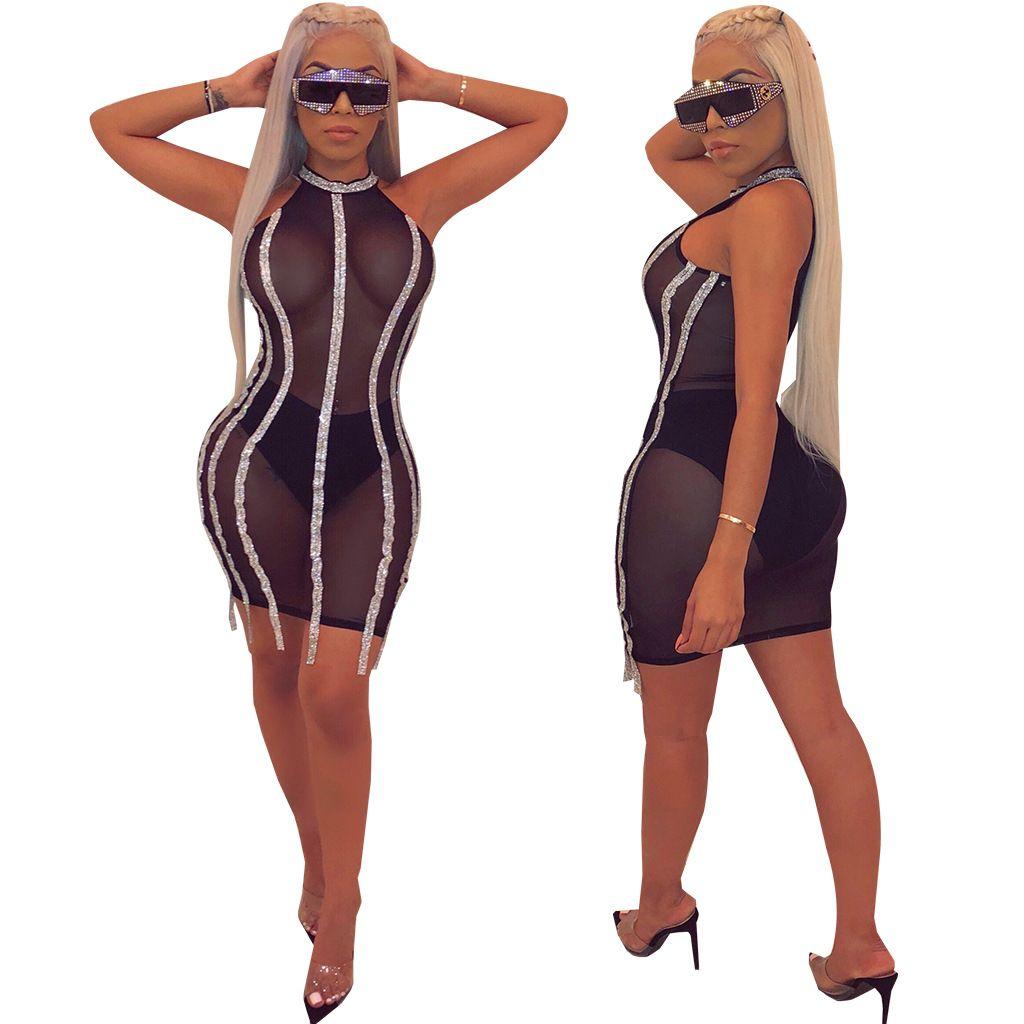 948dcf6bbd378 Women Designer Party Sheer Dress Sequins Striped Mini Skirts Night Club Short  Dresses Sexy Mesh Black Bodycon Dress Lady Clothes DHL Fast Floral Dress  Women ...