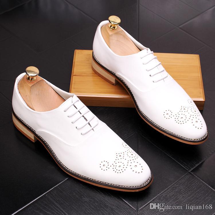 Marca Homens Lace Up Brogue Oxford Couro Genuíno Vestido Formal Sapatos pretos de Casamento Do Partido Do Feriado Tamanho 38-43