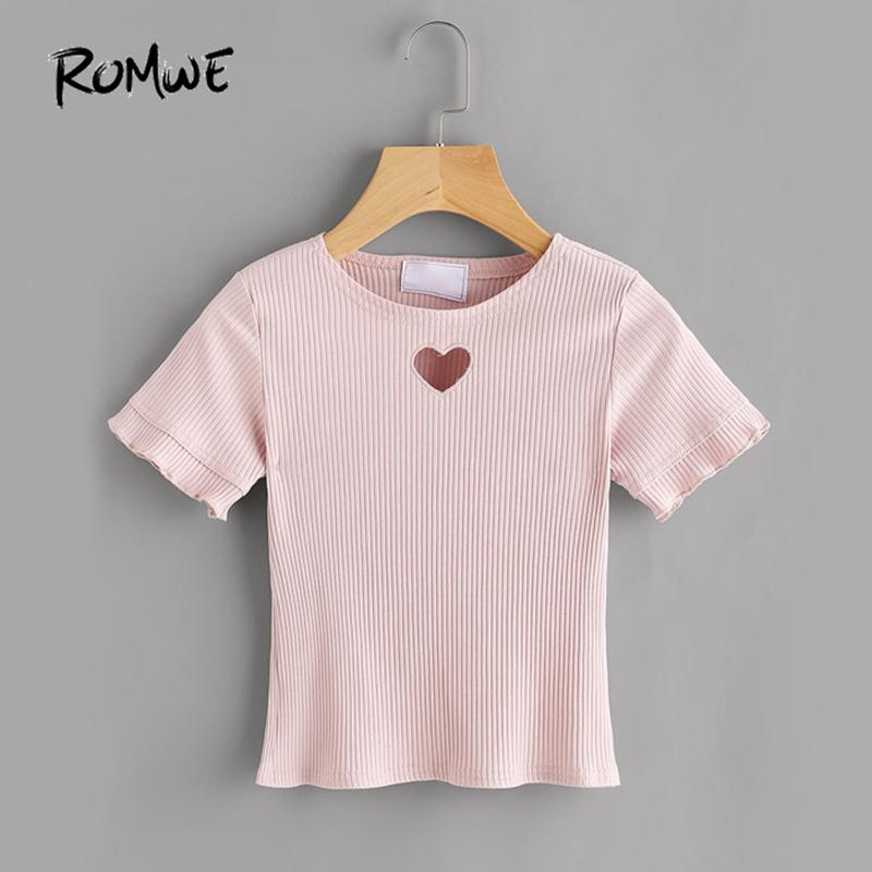 c848ece2db74 ROMWE Cute Heart Cut T Shirt Pink Ribbed Tee 2018 Women Short Sleeve Sweet  Summer Tops Fashion Brief Hollow Out Basic T Shirt Geek T Shirts Buy T  Shirts ...