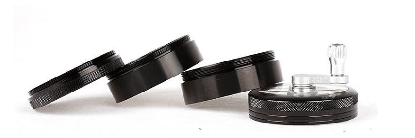 Black Hand-cranked Four-layer Aluminum Smoke Grinder Cigarette Lighter Cigarette Packaging Independent Diameter 63MM