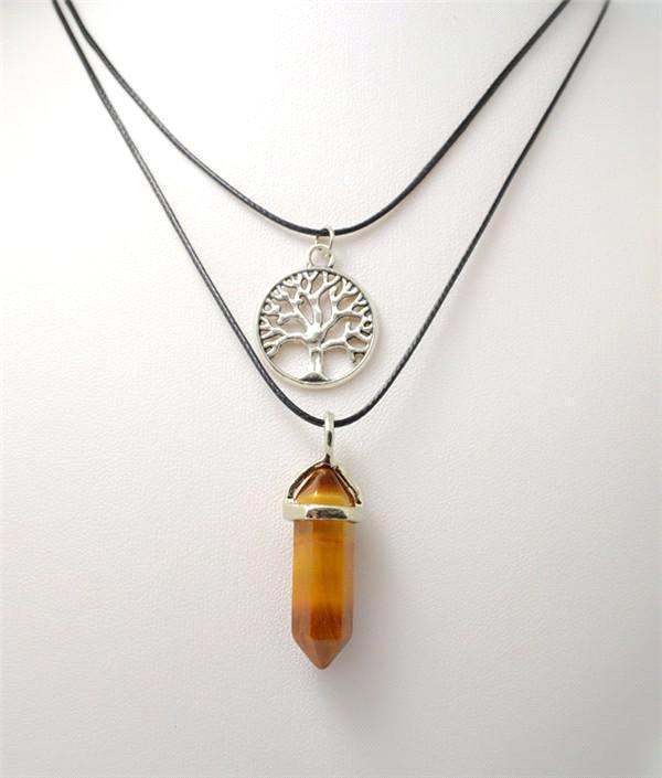 2b81b2f226e8 Colgantes de collar Cristales curativos Gemas naturales Piedras señaladas  Chakra Reiki Charms Colgantes Collares