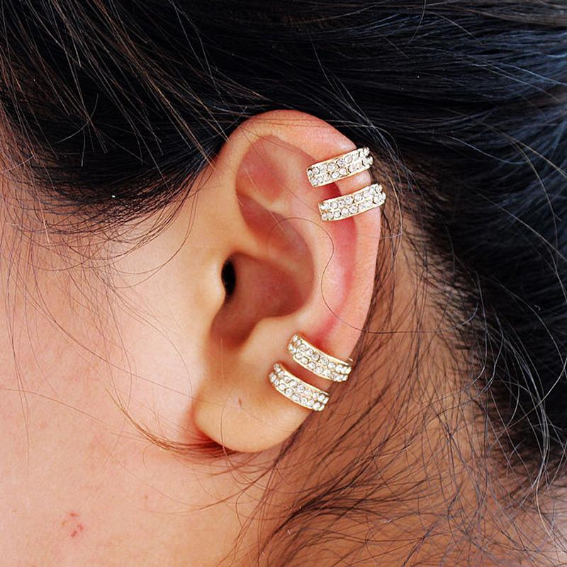05b94ddf9e65 2019 Trendy Small Round Ear Cuff Earrings For Women Gold And Silver Plated  2 Rows Rhinestone Clip Earrings Without Piercing From Dhcomcn