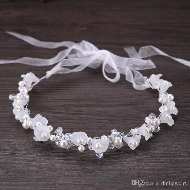 Pérolas de Cristal de prata Nupcial Headpieces Flor Headbands Tiaras de Casamento Das Mulheres Faixa de Cabelo Cocar Meninas Do Bebê Headwear Vestido Acessórios Para o Cabelo