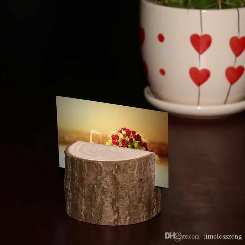 Ağaç güdük zanaat yer kart sahibi Rustik tarzı koltuk klasör fotoğraf klip Düğün doğal ahşap süslemeleri Silindirik ve yarım daire tarzı