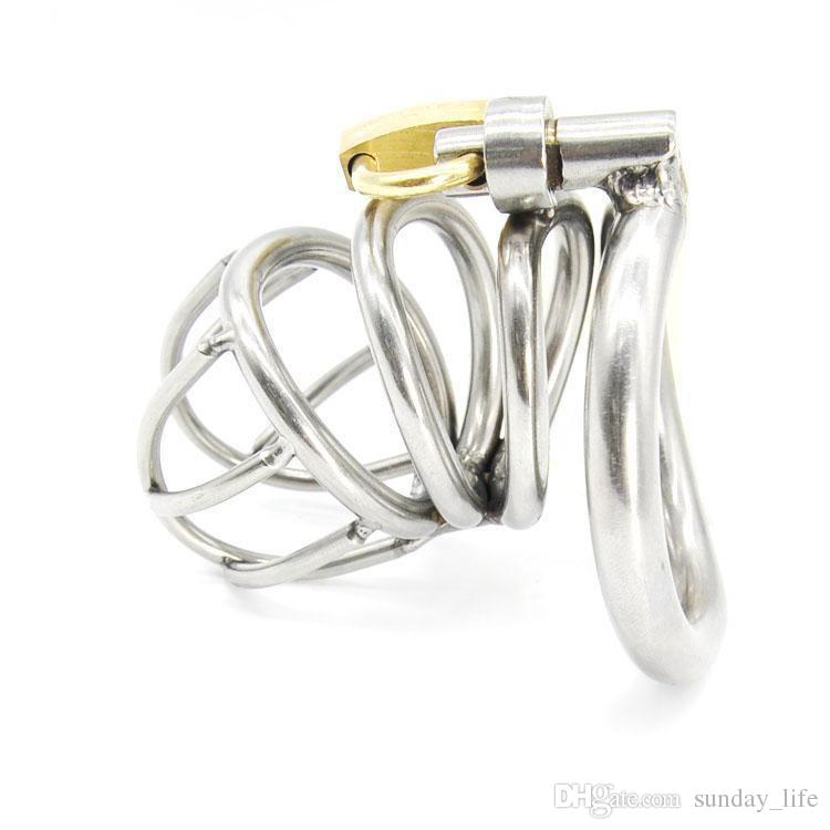 !!!Stainless Steel Small Male Chastity device Adult Cock Cage With Curve Cock Ring Sex Toys Bondage Chastity belt SNA224-1