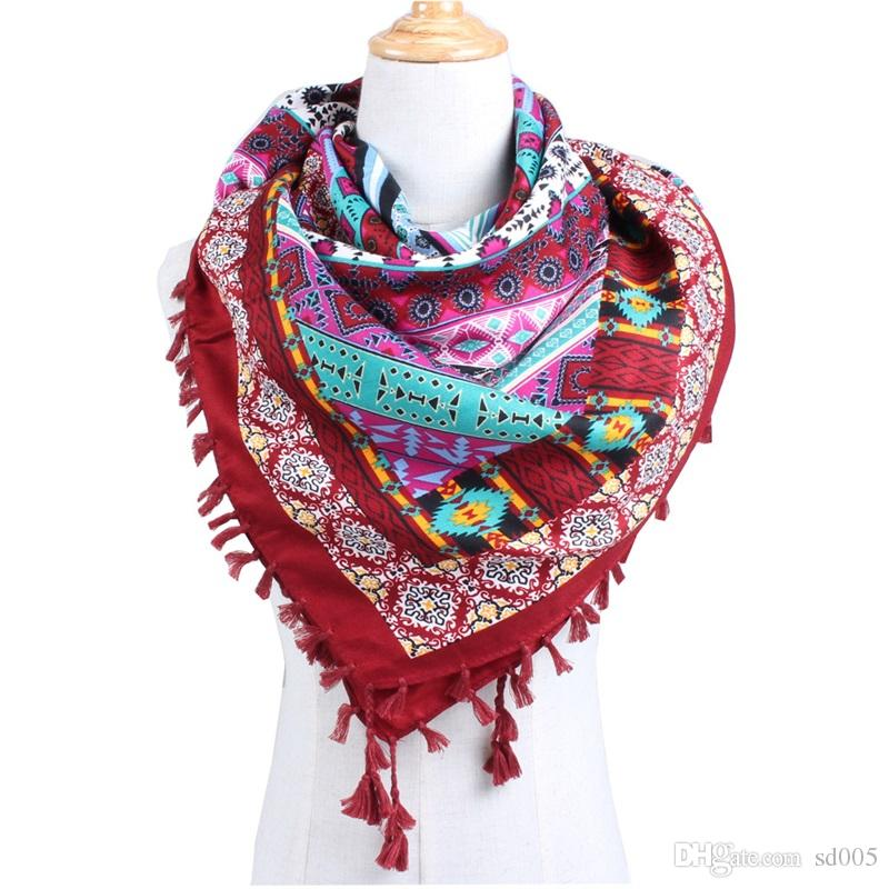 22581826496 Ethnic Style Large Square Scarf Wrap Floral Cotton Geometry Pattern  Printing Scarves Summer Beach Seaside Shawl Fashion 14qj bb