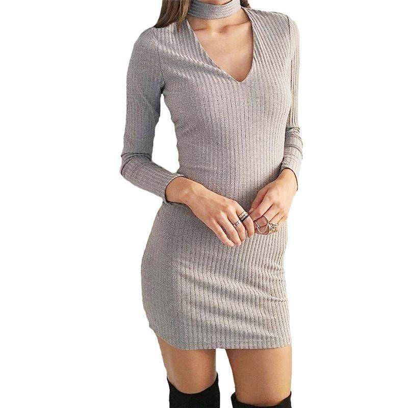 d99c164732c Autumn Winter Women Clothes Dress Long Sleeve Sexy Short Pencil Knitted  Dress Slim Bodycon Party Club Vestidos Sweater Skirt White Dress Woman Long  Dress ...
