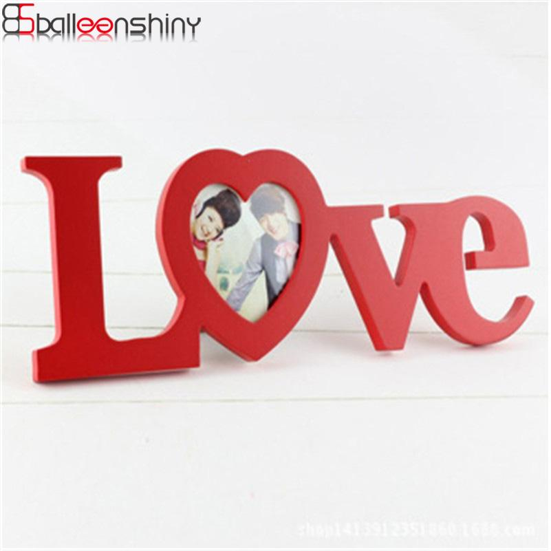 BalleenShiny Wooden Love Shape Design Photo Picture Frame DIY ...