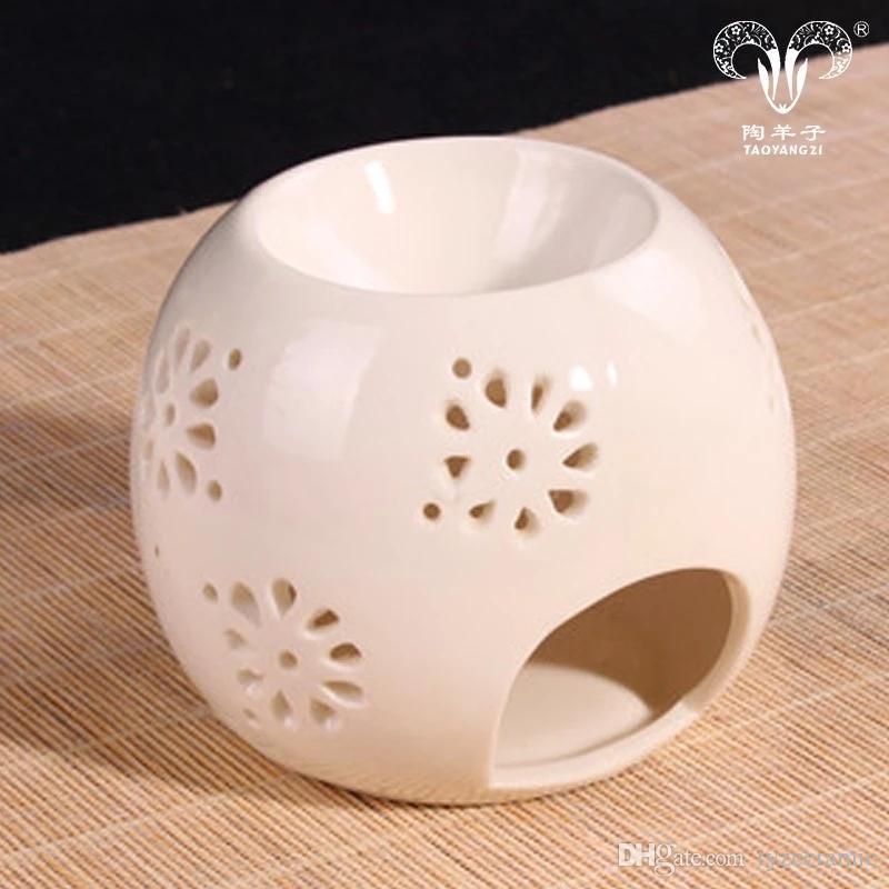 Fabricación directa de calabaza pintada a mano lindos candelabros de cerámica Forma redonda whit porcelana quemador de aceite de aroma personalizada para cerceta
