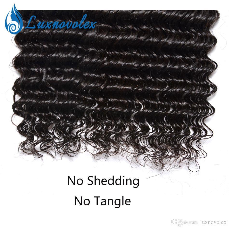 Brazilian Virgin Hair 3 Or 4 Bundles Deep Wave Kinky Curly Water Wave Hair Wefts Malaysian Peruvian Indian Human Hair Weaves Natural Color