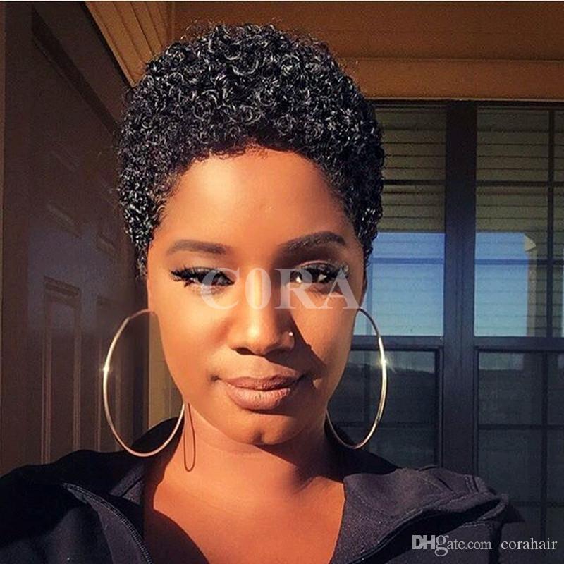 130 Density Pixie Cuts Brazilian Virgin Human Afro Kinky Curly Hair