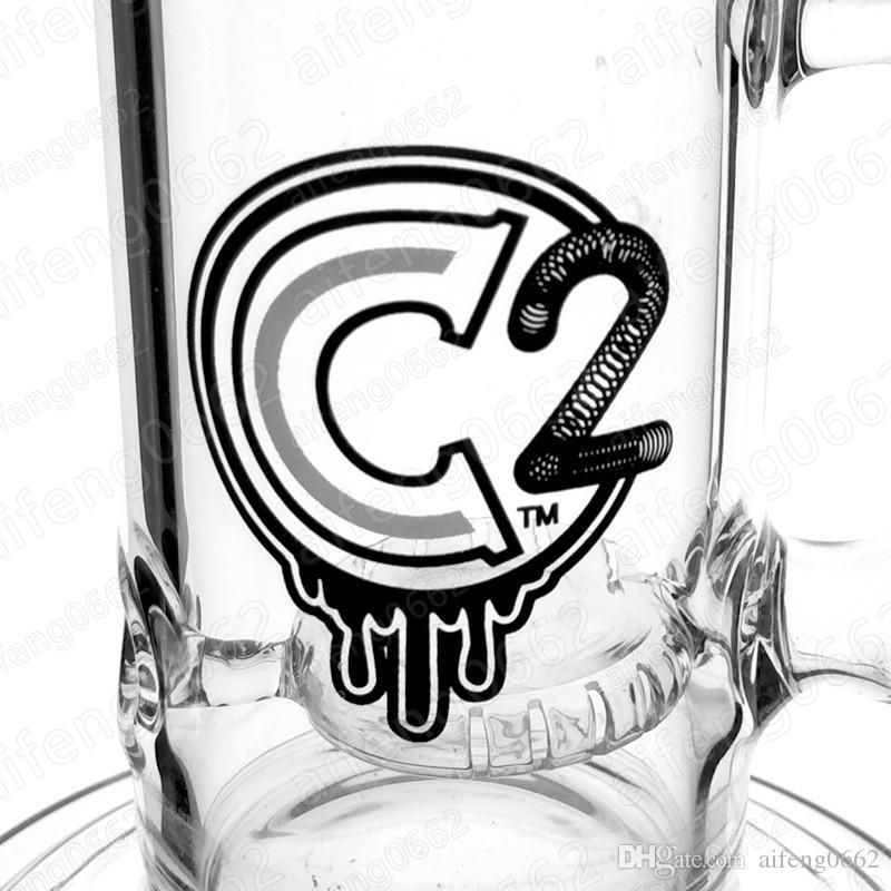 C2 vetro bong classico riciclatore erogatore acqua 13.5inches olio relycler perforatrici tubo dell'acqua bong 18 millimetri giunto femmina