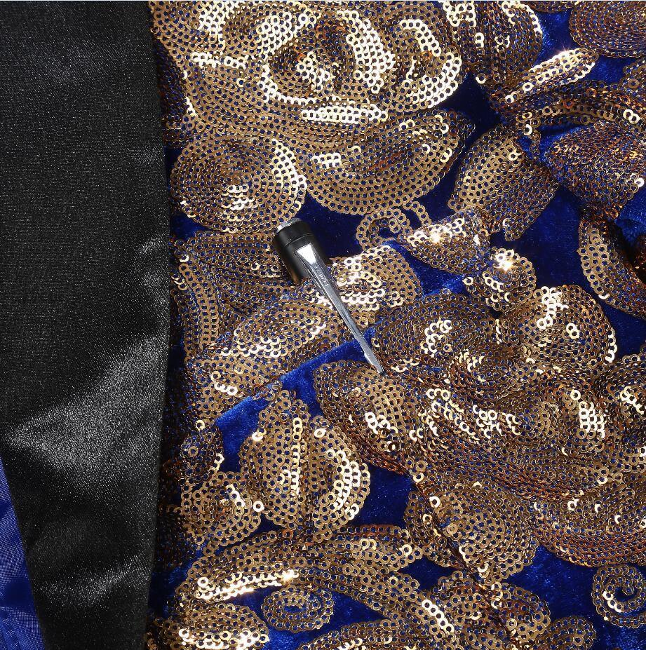 PYJTRL Мужчины Стильный Платок Отворот Королевский Синий Бархат Slim Fit Blazer Плюс Размер 5XL Золотые Цветочные Блестки DJ Singer Свадебный Костюм Пиджак