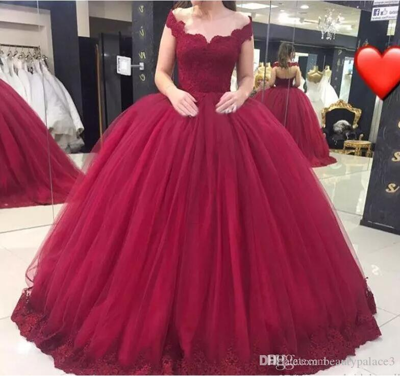 Vestido De 15 Anos 2019 Burgundy Sweet 16 Dresses V Neck Lace Applique Tulle Ball Gown Quinceanera Dress Prom Evening Pageant Wear Cheap