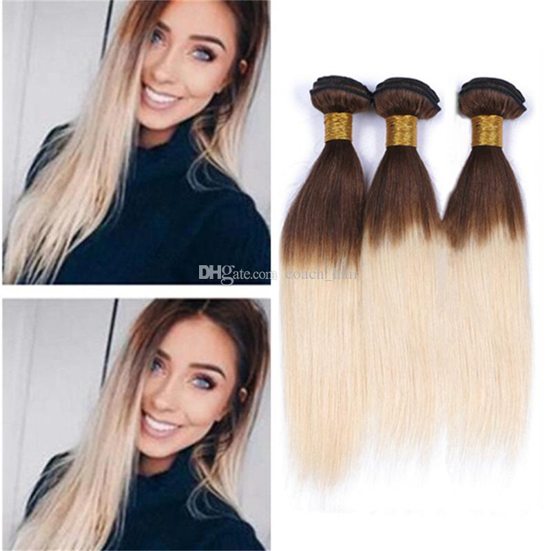 Ombre Brown And Blonde Hair Bundles Silky Straight Light Brown Roots