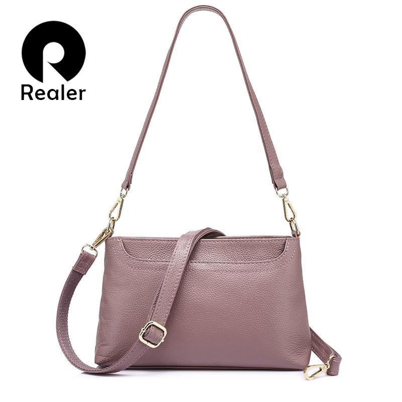 REALER Women Shoulder Messenger Bags Genuine Leather Handbag Female ... 95cb50eaa360d