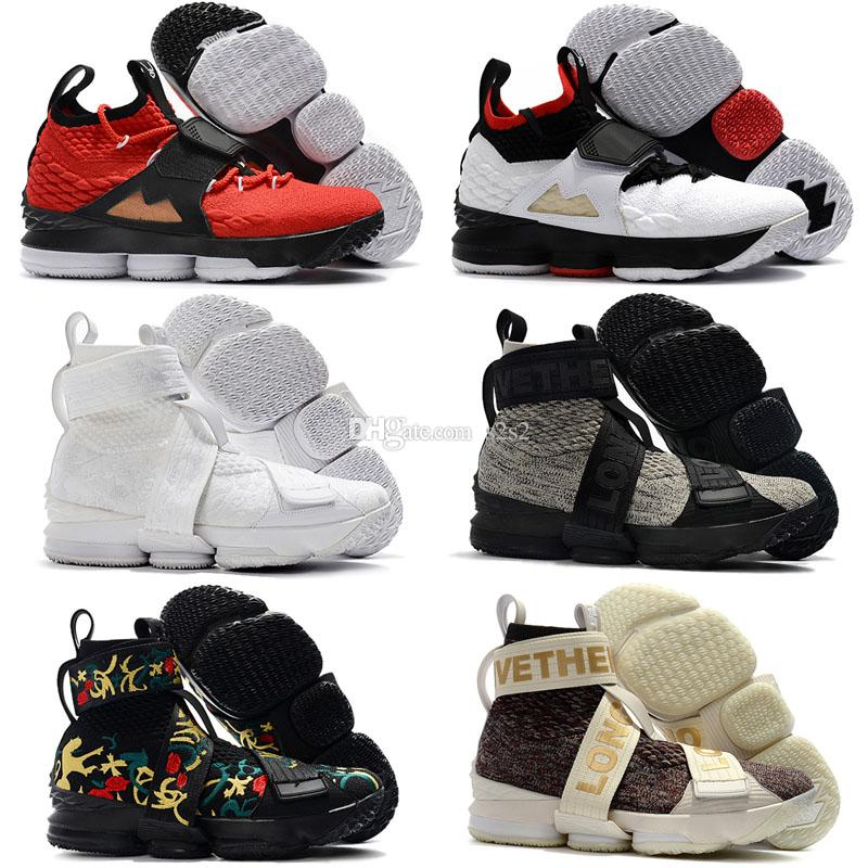 Cheap new Mens Kith X Lebron 15 XV high top basketball shoes lifestyle Kings Cloak Black Floral sneakers for sale