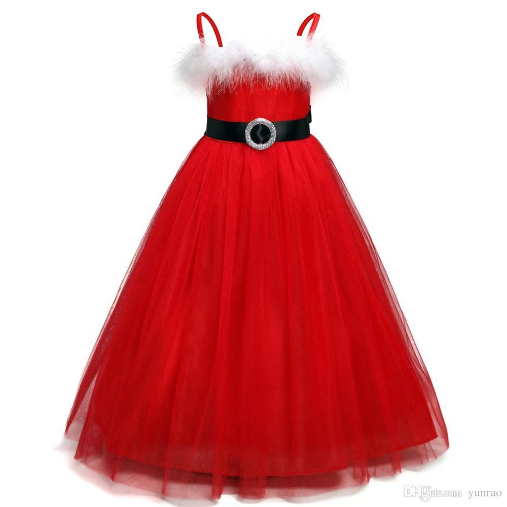 1a8aad9f9 Compre Vestido De Navidad Para Niñas Tirantes Falda Vestido De Fiesta De  Encaje De Moda Regalos Para Niños Rojos Con Cinturón Negro A $8.95 Del  Yunrao ...