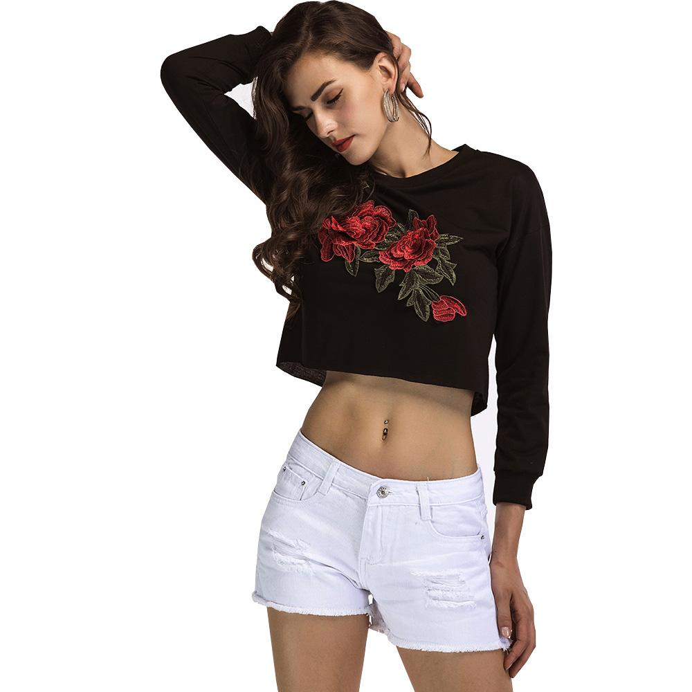 75b2ed280b83 2019 2018 New Autumn Fashion Thin Hoodies Sweatshirts Long Sleeve Sexy Crop  Top Female Embroidery Black Cropped Hoodie Moletom From Lin_and_zhang, ...