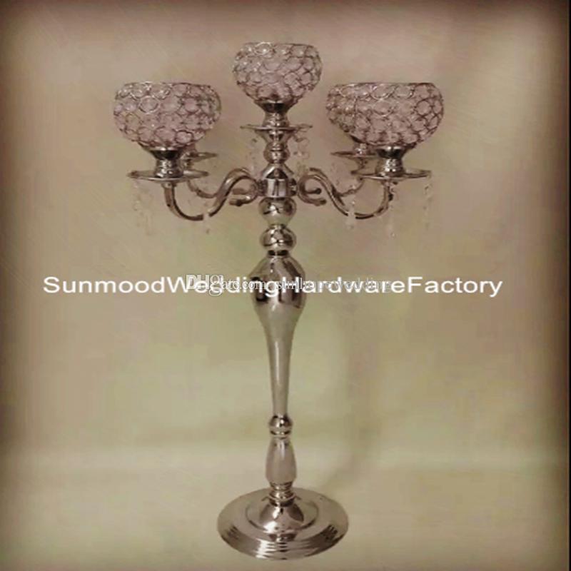 candelero cristalino decorativo de cristal del nuevo estilo para la tabla de la boda