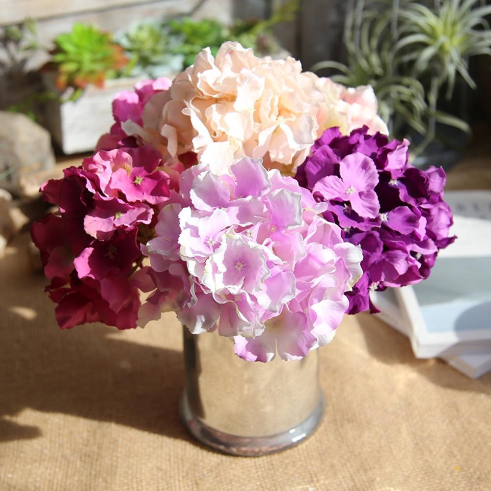 2018 Lin Man Silk Hydrangea Flowers Artificial Bridal Flowers Bride ...