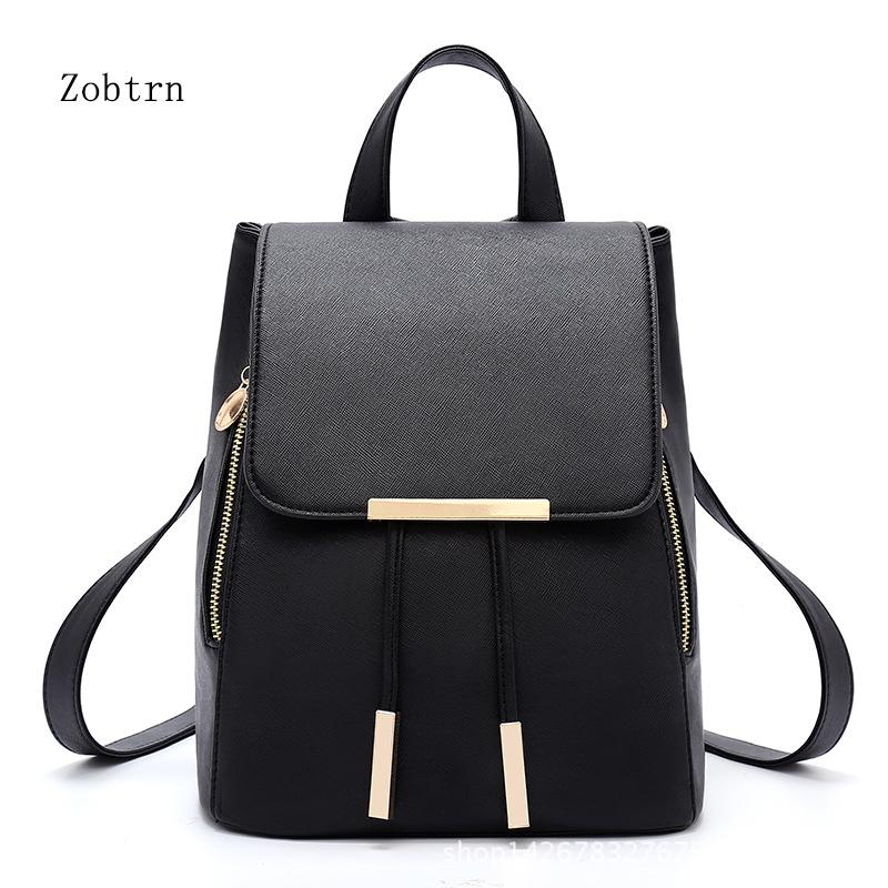 2cc98f93b0 Zobtrn Girls Backpack Popular Fashion Casual PU Leather Backpack Student  Small Fresh Simple Woman Bags Travel Backpacks Small Backpack From Meledy