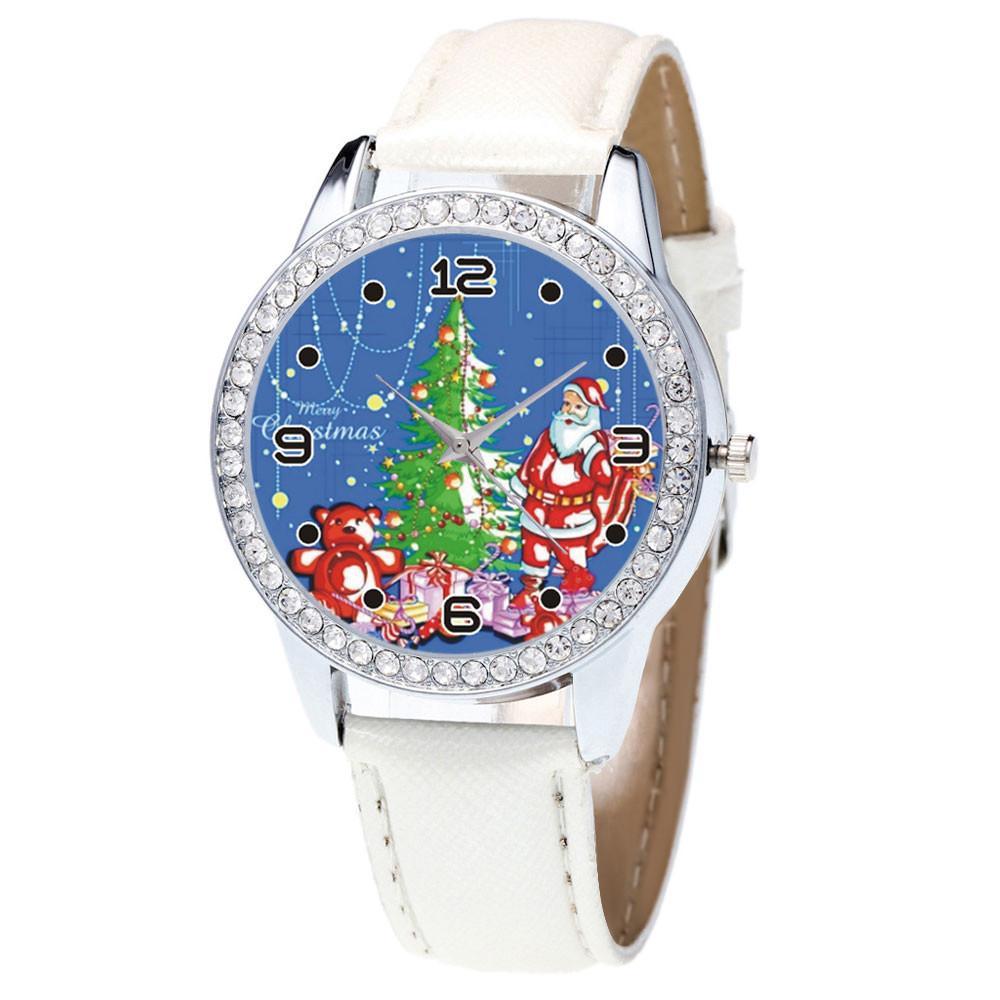 3e39fda05ef Compre Mulheres Relógio Relogio Natal Strass Pulseira De Couro Analógico  Senhoras Relógios De Quartzo Relógio Feminino Relógio De Pulso Presente  Montre ...