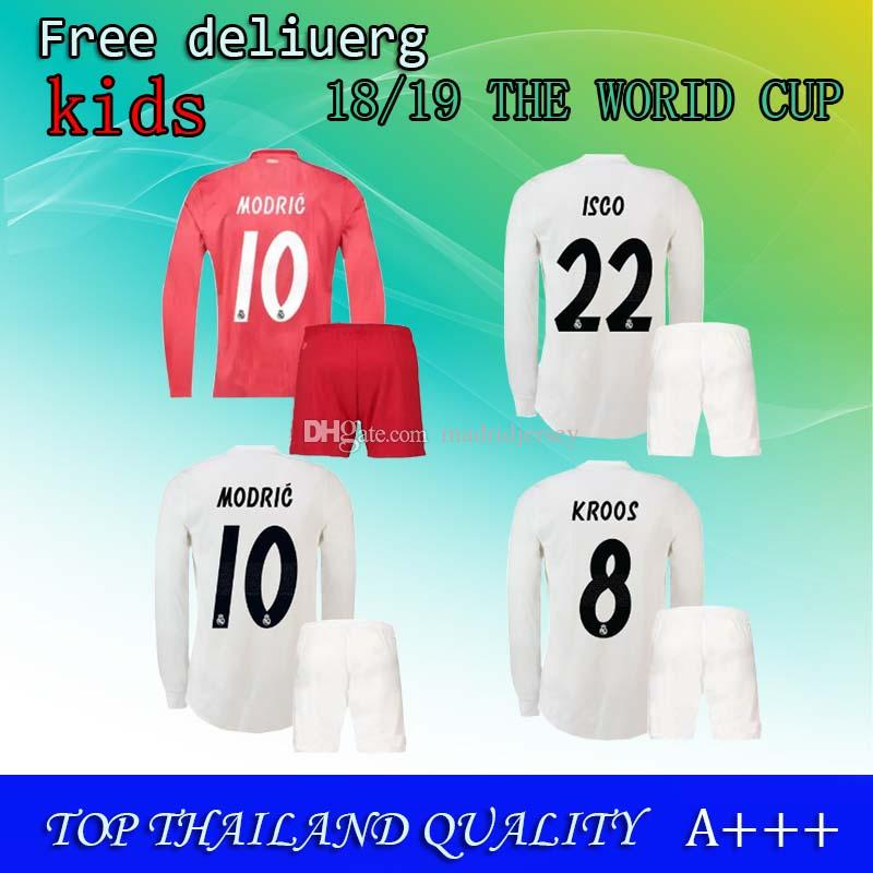 ca1df1555 Kids Kit +Socks Real Madrid 1819 MARIANO ASENSIO MODRIC Soccer Jersey 18 19  RAMOS BALE ISCO Camiseta Boy Football Shirts Third Red Jerseys UK 2019 From  ...