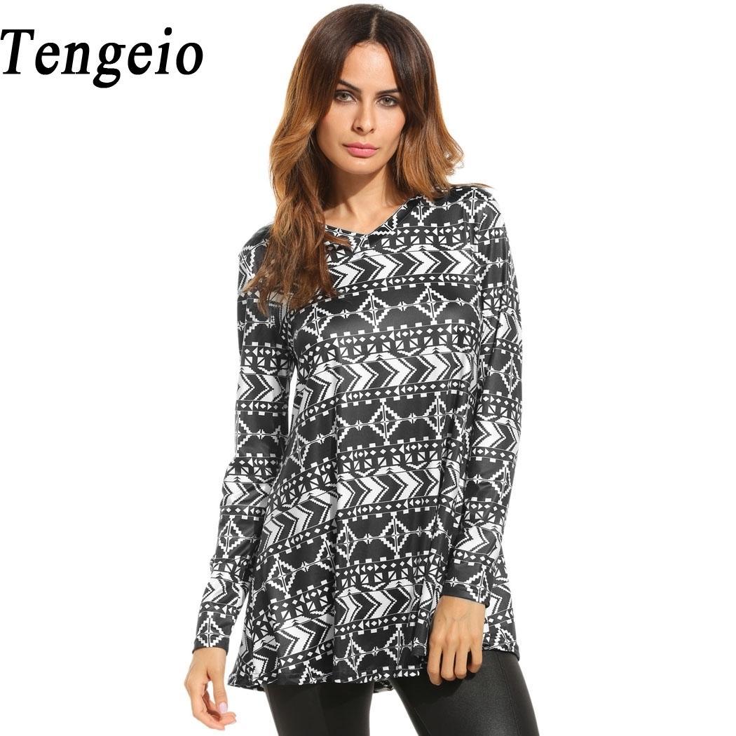 b25650031781 Tengeio Harajuku T Shirt Women Casual V Neck Long Sleeve Vintage Geometric  Print Loose Fit Tunic Tops Camisetas Mujer QZS40 Free T Shirts T Shirts  Deals ...