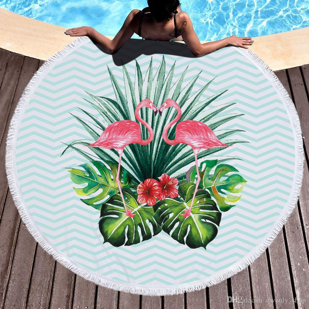 10 Diseño FLAMINGO Ronda Toalla de playa con borlas Microfibra Beach Picnic Manta Yoga Mat 150cm Picnic Manta Beach Cover