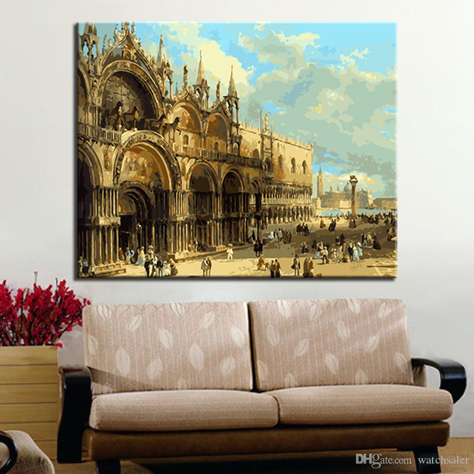 European Architecture Painting By Numbers Kits Drawing Home Decor For Living Room DIY Color Canvas Oil Pictures Wedding Wall Art