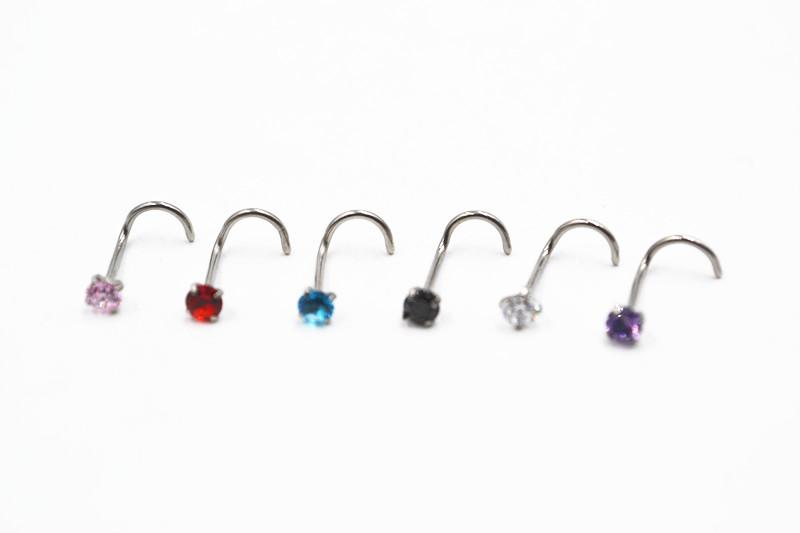 50 Or 100 Lot Clear Cz Gem Nose Screw Rings Studs Wholesale Piercing Jewelry Body Jewelry